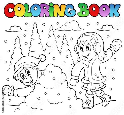 Tuinposter Doe het zelf Coloring book winter theme 2