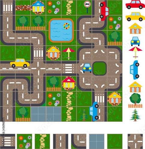 Poster de jardin Route Map scheme of streets