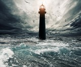 Stormy sky over flooded lighthouse