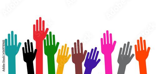 Fotografie, Obraz Communauté - Mains en l'air - Vote à main levée