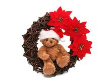 Christmas Teddy Bear With Christmas Wreath