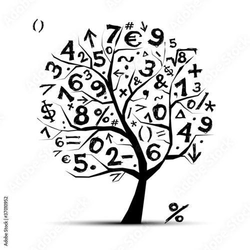 Art Tree With Math Symbols For Your Design Buy This Stock Vector