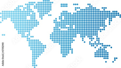 Poster Wereldkaart World map of blue round dots