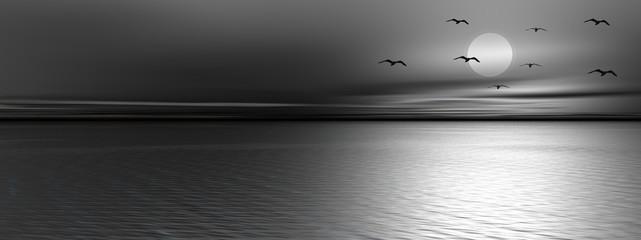 Panel Szklany Czarno-Biały Ocean by night