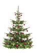 Weihnachtsbaum mit Roten Kugeln und Strohstrernen