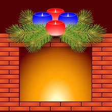 Fireplace And Christmas Candles