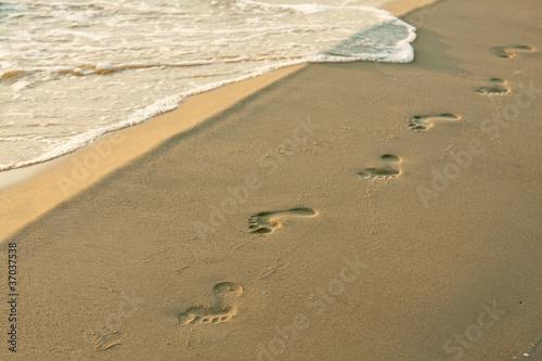Motiv-Rollo Basic - Fußspuren am Strand
