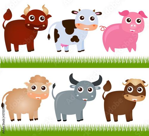 In de dag Boerderij A colorful Theme of cute vector Farm Animals, on white
