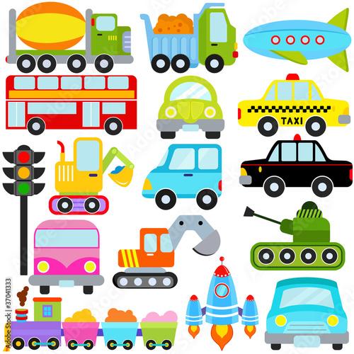 Staande foto Cartoon cars A set of cute Vector Icons : Car / Vehicles / Transportation