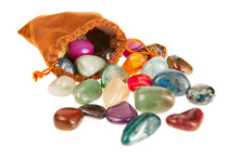 Bag Of Colorful Stones Isolated On White