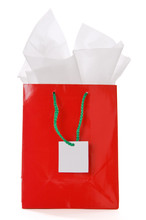 Red Gift Bag With Blank Tag Is...