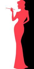 Smoking Woman In Slim Dress