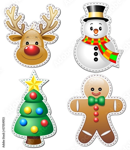 Stickers Natale.Natale Stickers Adesivi Christmas Ornaments Vector Buy