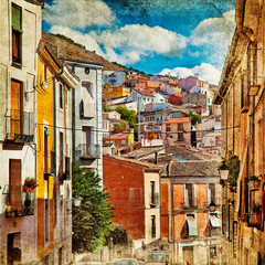 Panel Szklany Podświetlane Vintage colorful Spain - streets of Cuenca town - artistic picture