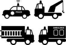 Ambulance, Police Car, Fire Truck And Tow Truck Silhouettes