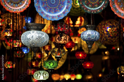 Poster Maroc Colorful Arabic lanterns