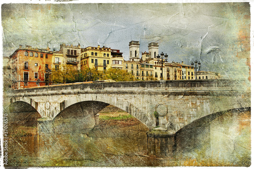 Girona, Spain,artistic retro picture