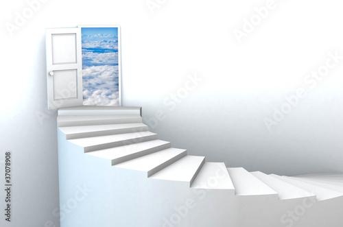Foto op Plexiglas Trappen 3d Stairs to open heavens door