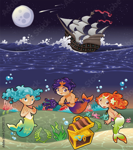 Photo Stands Mermaid Baby Sirens under the sea.Vector illustration.