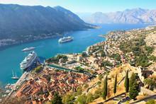 Kotor Bay And Cruise Ships