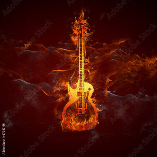 Wall Murals Flame Gitarre Feuer