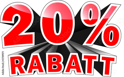 Fotografia  3D Text: 20 Prozent Rabatt