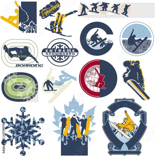 Fotografie, Obraz  Snowboard vector labels