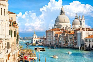 Fototapeta Venice, view of grand canal and basilica of santa maria della sa
