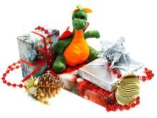 Dragon Is A Symbol Of 2012. Sitting On An Orange.