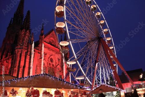 Poster Amusementspark Marché de noël, Alsace
