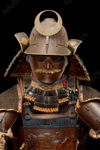 Photo  Image of samurai armour on black