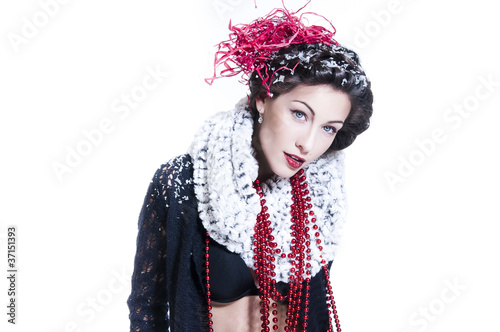 Poster Gypsy Sexual young brunette with bright shiny make-up