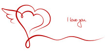 """Valentines Card 2 Hearts & Wing """"I Love You"""""""