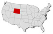 Map of the United States, Wyoming highlighted