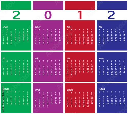 Fényképezés  Colorful Calendar for 2012