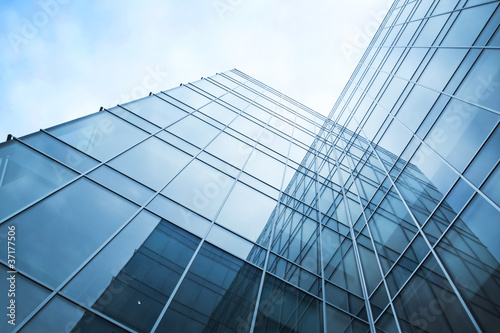 transparent glass wall of office building Fototapeta