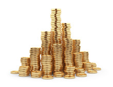 Heap Gold Coin 3D. Business Concept. Isolated On White Backgroun