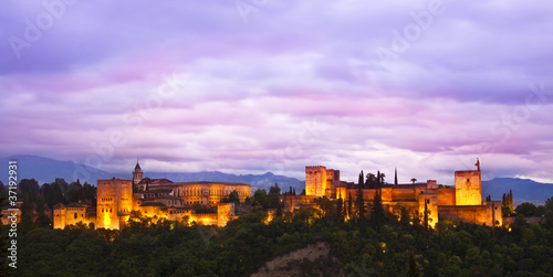 Printed kitchen splashbacks Purple Panorama of Alhambra, Granada, Spain