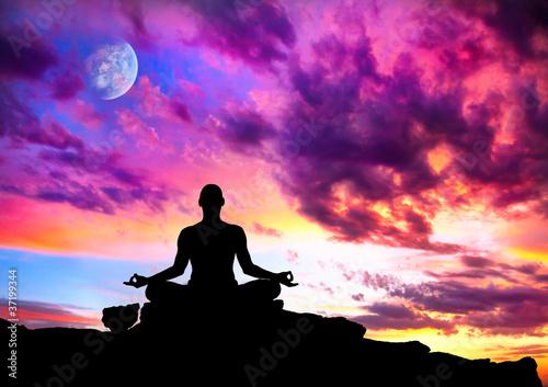 Fotografie, Obraz  Yoga meditation silhouette pose
