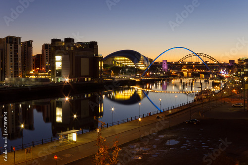 City on the water River Tyne at night