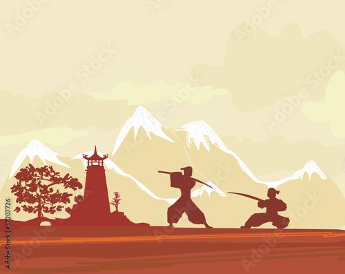 Foto  Samurai silhouette in Asian Landscape