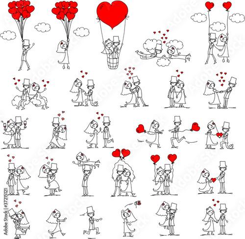 Photo Stands Illustrations Свадебная фотография, жених и невеста в любви, вектор
