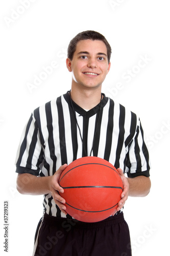 Fotografering  Teen basketball referee portrait isolated on white