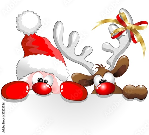 Autocollant pour porte Draw Babbo Natale e Renna-Santa Claus and Reindeer Background
