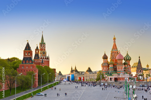 Foto op Aluminium Moskou Red square, Moscow at sunset