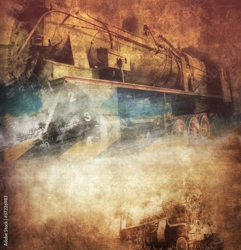 grunge-parowa-lokomotywa-rocznika-tlo