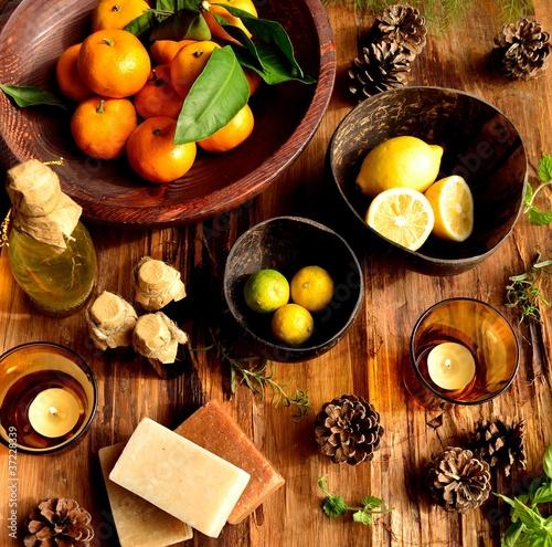 Fotografía  柑橘系フルーツとアロマテラピー用品