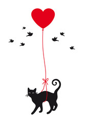 Fototapeta Do pokoju młodzieżowego cat with heart balloon, vector