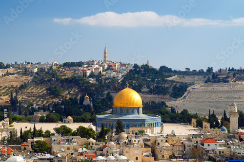 Cuadros en Lienzo Dome of the Rock, high angle view to Jerusalem