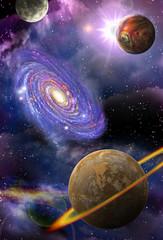 Fototapeta planety i galaktyki w przestrzeni
